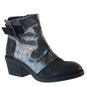 Fly London Black & Silver Dape Leather Boots Sz 38